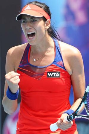 Garbine Muguruza celebrates winning a critical point in the final.