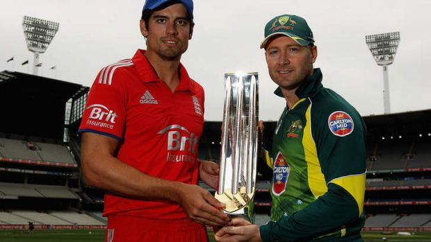 Return to the fray: Rival captains Alastair Cook and Michael Clarke with the one-day series trophy at the Melbourne ...
