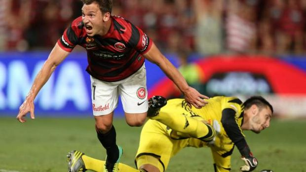 Brendon Santalab scores the winner for the Wanderers.