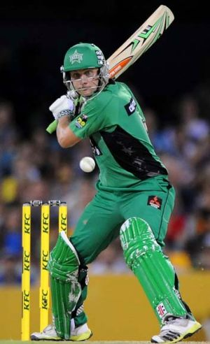 Luke Wright on the attack for the Stars against the Brisbane Heat. The opener made 37 from 33 balls.