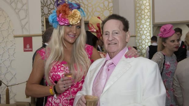 Brynne Edelsten and her husband Geoffrey in the Emirates marquee at Flemington on Melbourne Cup Day.