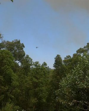 Waterbombers fly over the Shire of Mundaring.