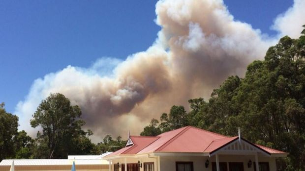 A view of the Parkerville fire, from Mundaring.