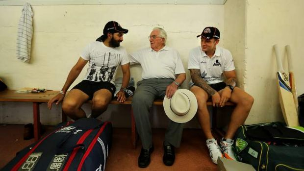 Having a ball: Alan Davidson with Monty Panesar and Wests Tigers player Blake Austin.