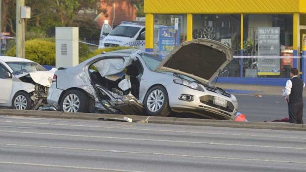 Destruction: the remains of one of the cars involved in the crash.