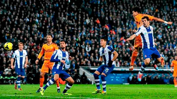 The winner: Pepe leaps high to score for Real Madrid.