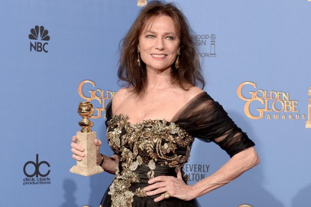 <i>Dancing on the Edge</i> actress Jacqueline Bissett with her Golden Globe for best supporting actress in a series, ...