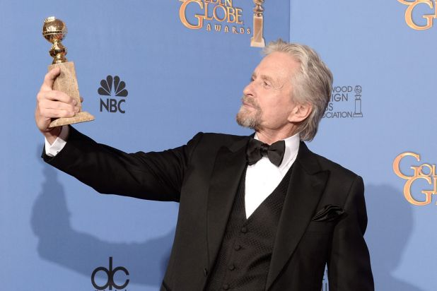 Michael Douglas with his Golden Globe for <i>Behind the Candelabra</i>.