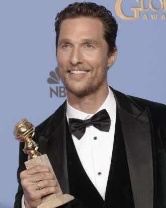 Matthew McConaughey after collecting the Golden Globe for best actor (drama) for <i>Dallas Buyers Club</i>.