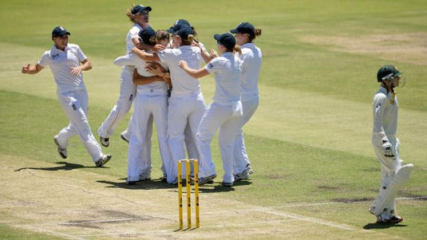 England celebrate after taking the wicket of Australia's Sarah Coyte during day four of the Women's Ashes Test at the ...