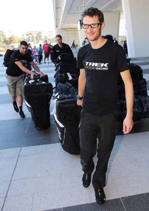 Frank Schleck of the Trek Factory Racing Team arrive at Adelaide airport on Monday.
