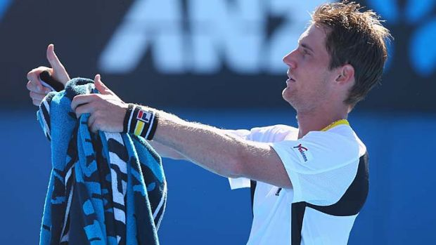 Winner: Matthew Ebden acknowledges the crowd after his win.