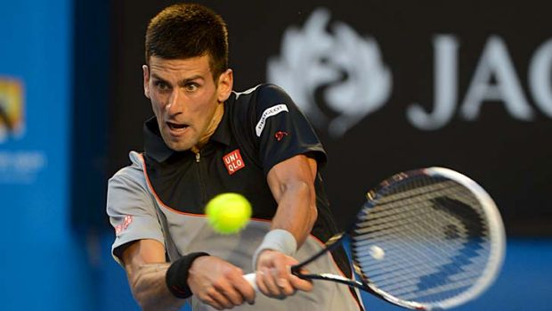 In line: Novak Djokovic put in a smooth performance against Lukas Lacko.