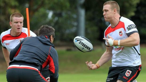 Revitalised: Ben Creagh, right, trains with the Dragons at Wollongong University.