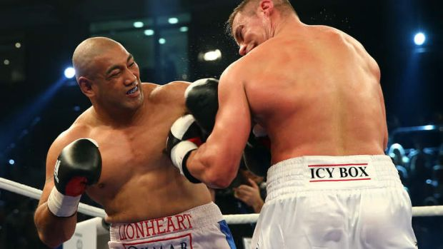 Alex Leapai trades blows with Russian Denis Boytsov during their November fight in Germany.