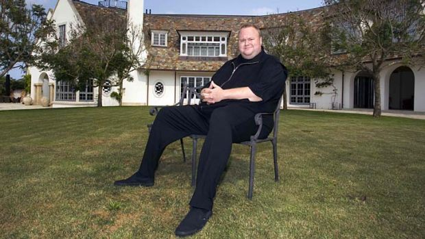"""Internet Party"": Kim Dotcom at his mansion in Coatsville, Auckland."