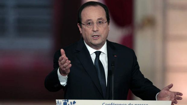French president Francois Hollande speaks during a press conference to present his 2014 policy plans at the Elysee ...