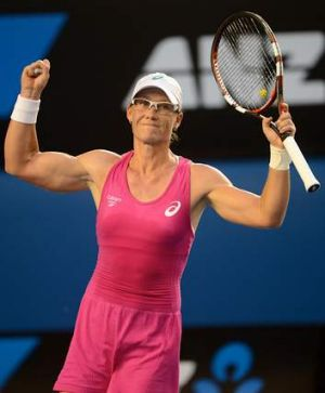 Onward and upward: Australia's  Sam Stosur celebrates her victory over Tsvetana Pironkova.
