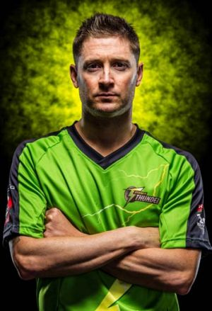 All dressed up with no game to go to ... Michael Clarke has yet to play for the Sydney Thunder.