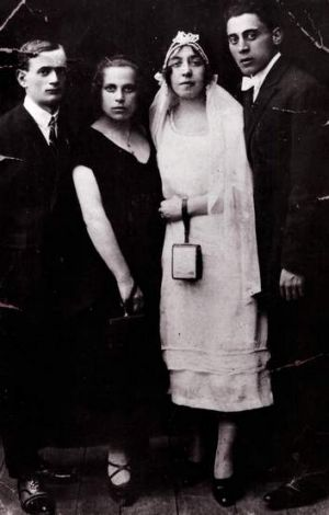 Past lives ... Michael Gawenda's parents (at right) on their wedding day in Lodz in 1925. Next to his mother are his ...