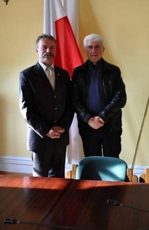 """""""The past is never settled, but nor can it be denied"""" ... Gawenda with the mayor of Lowicz."""