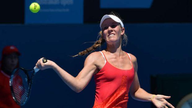Olivia Rogowska hits a return against Elina Svitolina.