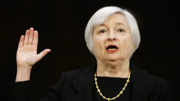 Dr Janet Yellen, President Barack Obama's nominee to lead the U.S. Federal Reserve, is sworn in to testify at her U.S. ...