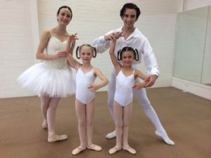 Daniel Gaudiello with fellow Australian Ballet principal Amber Scott, and students Olivia and Piper