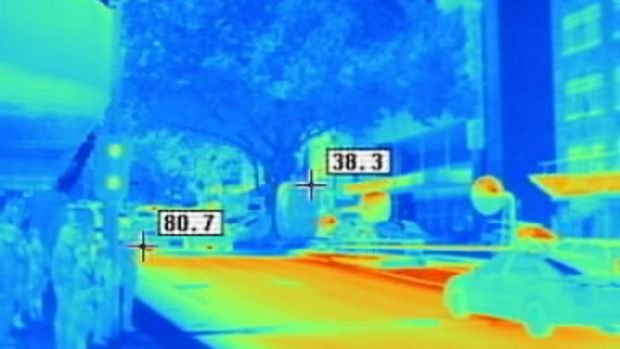 A thermal image at the corner of Russell and Bourke streets, Melbourne, between 3-4pm on December 8, 2011, when the ...