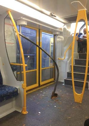 """Shocking"": The metal bar that snaked its way throughthe floor of the third carriage."