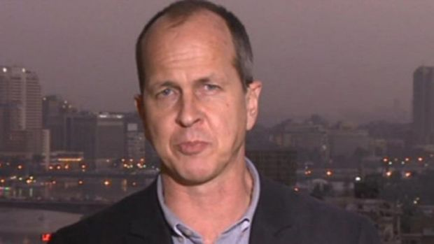 A screen grab of a BBC report by Australian journalist Peter Greste, who now works for Al-Jazeera.