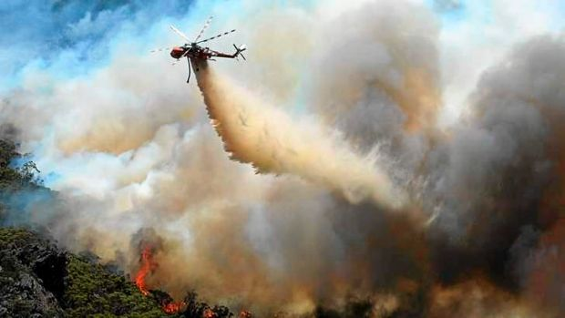 Tackling the fire from above.