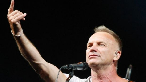 Singer Sting performs on stage.