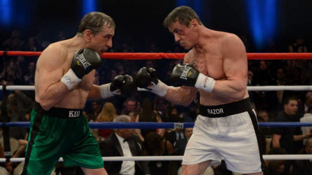 Eyeing a hit: Robert De Niro and Sylvester Stallone battle it out in <i>Grudge Match</i>.