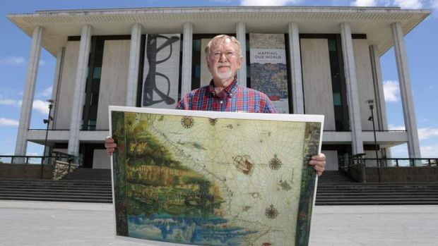 Historian and author Peter Trickett in front of the National Library of Australia with a replica of the map from the ...