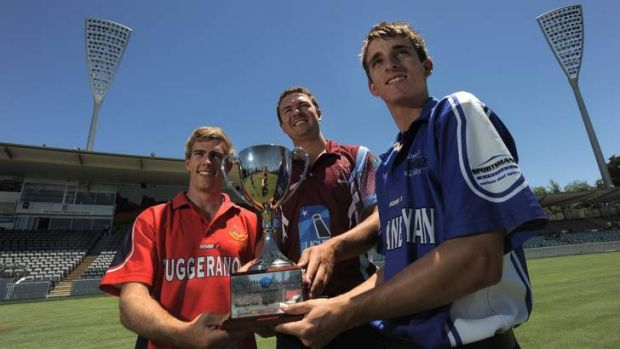 Three of the four teams represented in this weekend's T20 finals pictured at Manuka Oval with the Konica Minolta Cup. ...