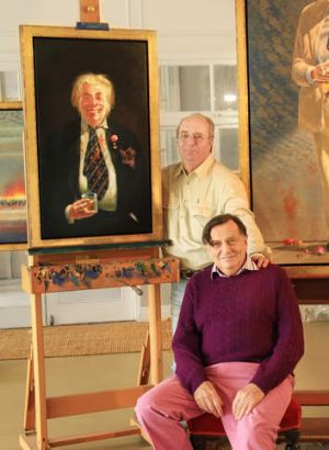 'Rather majestic': Tim Storrier and Barry Humphries with the portrait of Humphries' alter ego Sir Les Patterson, which ...