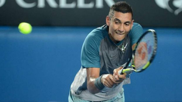 Nick Kyrgios during his match against Benoit Paire.