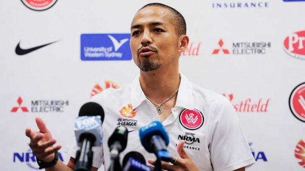 Departing: Shinji Ono talks to the media on Friday about his return to Japan at the end of the season to join J-League ...