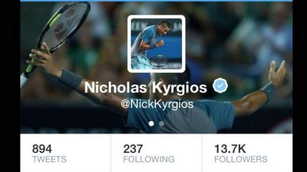 Nick Kyrgios' Twitter profile - now complete with the blue verified tick.