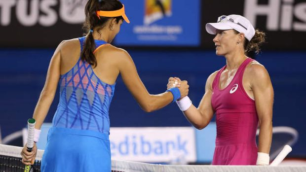 Tough night: Sam Stosur (right) congratulates Ana Ivanovic.