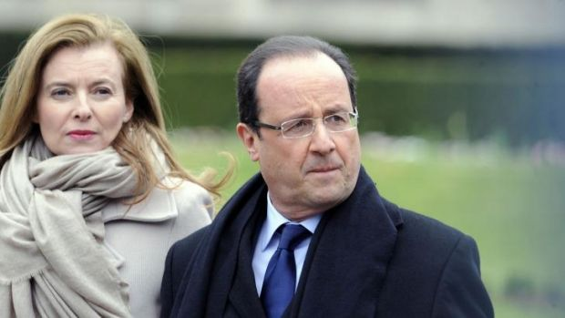 """""""Painful moments"""": Francois Hollande and his partner, Valerie Trierweiler, in April."""