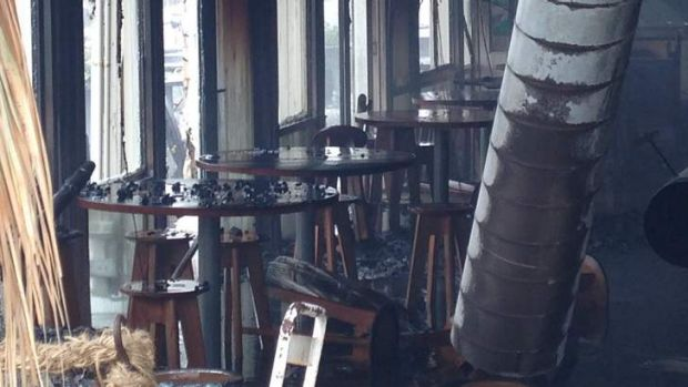 Inside the Stokehouse after the blaze.