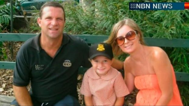 Killed in Los Angeles: Former Balmain Tigers winger Gary Mara, with his wife, Julianne, and daughter, Olivia.