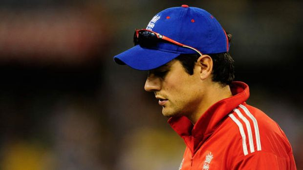 A dejected Alastair Cook after losing the second one-day international.