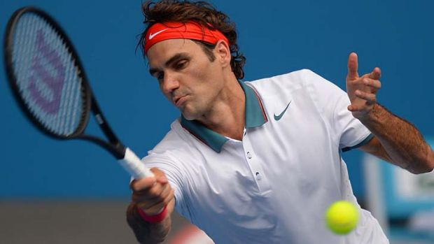 Roger Federer plays a forehand during his men's singles match against Russia's Teymuraz Gabashvili on Saturday.