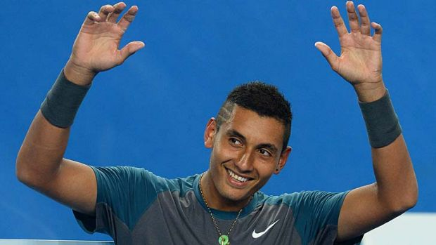 Let me entertain you: Nick Kyrgios works the crowd.