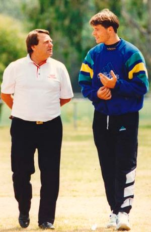 Keilor kid: Mark Viduka with national youth coach Les Scheinflug in 1994.