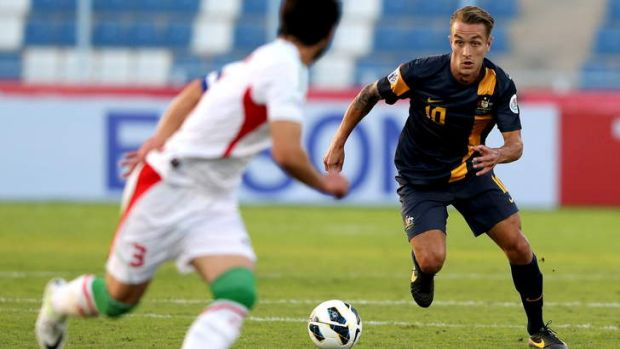 Valuable: Adam Taggart logs another international match for the under-22s against Iran.