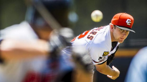 Canberra Cavalry pitcher Steven Chambers in action on Sunday.
